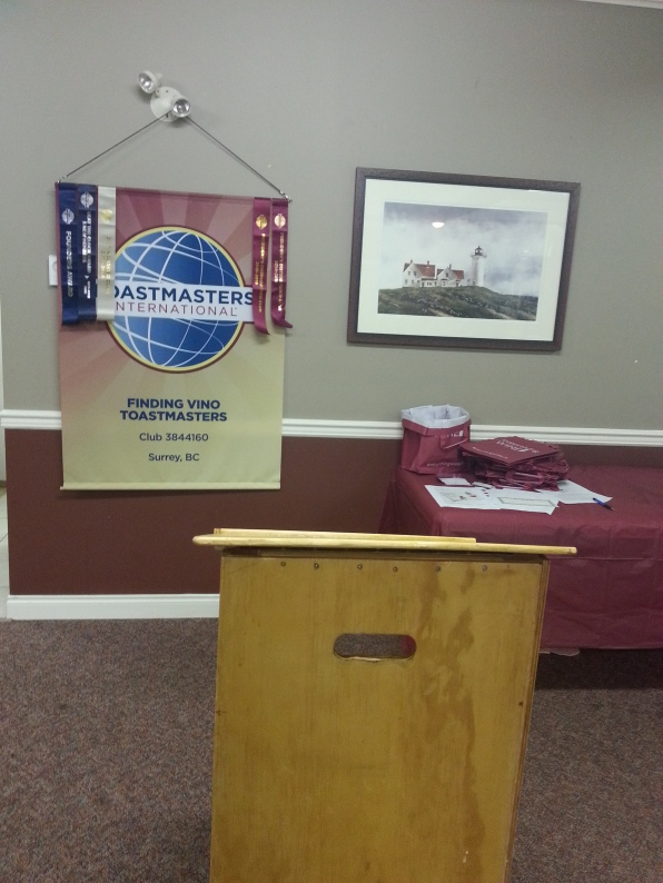 Podium awaits for the first speaker at the open house